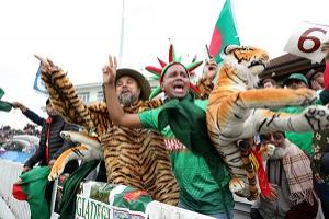 Bangladesh fans during the ICC Cricket World Cup group stage match at The Taunton County Ground, Taunton. (PA)