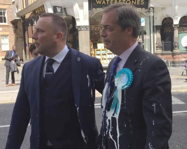 Nigel Farage after he was doused in milkshake during a campaign walkabout in Newcastle.