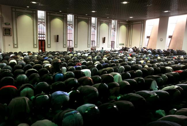 A general view of Friday prayers at the Central Mosque in Glasgow..Photograph by Andrew Milligan/PA.