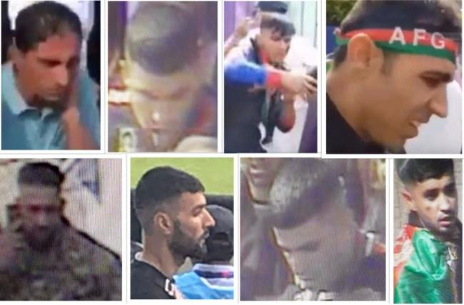 Images of the eight men police wish to speak to after disorder during a Cricket World Cup game at Headingley on Saturday, June 29