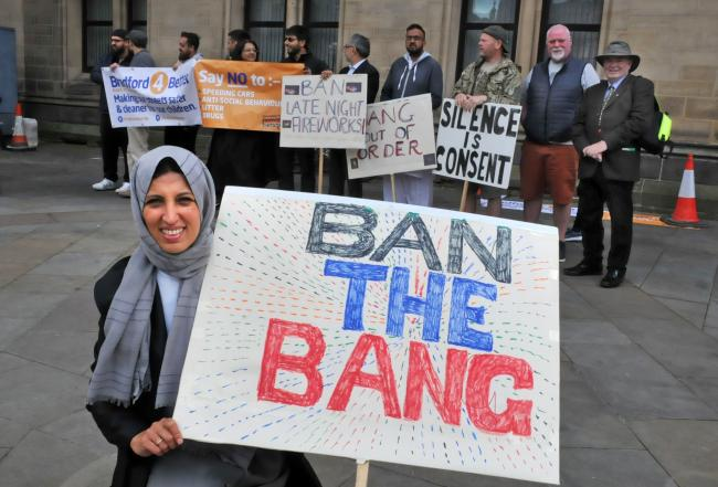 Inayah Sher, of Bradford4Better, leads a protest to stop late night fireworks