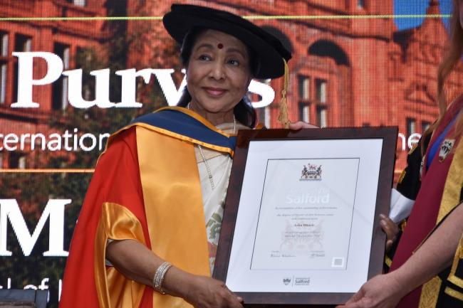 Asha Bhosle receives Honorary Doctorate from the University of Salford