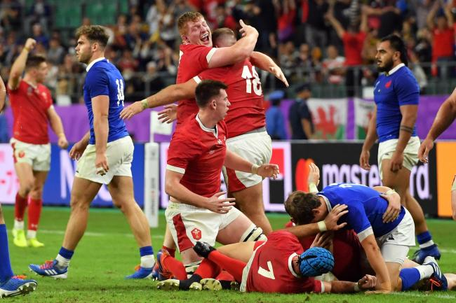 Wales celebrate at the final whistle