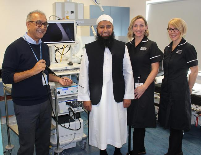 (from left) Mr Morar, ENT Consultant, Harun Patel, EG Group representative, Alison McLaughlin, Clinical Lead for SLT, and Rochelle Newton, Staff Nurse.