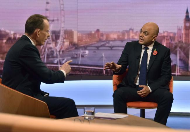 Chancellor of the Exchequer Sajid Javid, with host Andrew Marr, appearing on the BBC1 current affairs programme, The Andrew Marr Show. (BBC/PA)