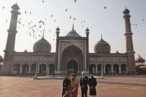 Sweden's King Carl XVI Gustaf, second right, and Queen Silvia, second left, pose for photographs with Deputy Shahi Imaam Syed Shaban Bukhari, right, and his wife Shazia Bukhari during a visit to Jama Mosque in New Delhi, India. (AP/Manish Swarup).
