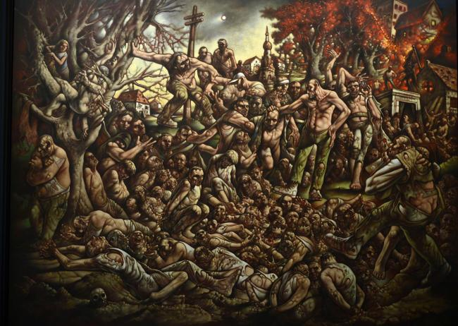 Peter Howson's The Massacre of Srebrenica marks the 25th anniversary of the atrocity. Pictures: Jamie Simpson.