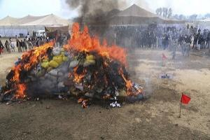 Officials of the Pakistani Anti-Narcotic Force burn a pile of confiscated drugs and alcohol at a ceremony in Lahore, Pakistan. Pakistan is aiming to take strict measures to stop drug trafficking from neighboring Afghanistan and Pakistani tribal areas. (AP/K.M. Chaudary).
