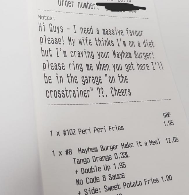 Customer requests burger to be delivered to garage 'to hide it from his wife'