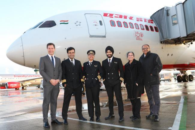 Pictured (L to R) are David Folkerd, London Stansted's Head of business Development, the flight deck crew which operated the inbound flight from Mumbai, Manjiri Shirodkar, Air India Airport Manager and Deepan Wadehra, Deputy Air India Airport Manage