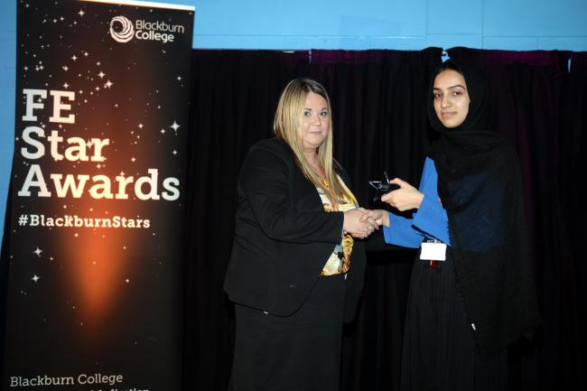 Lareb (right) at Blackburn College's FE Awards held earlier in the year