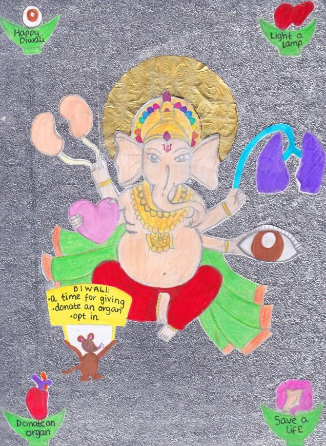 Saanvi Haria, from near Harrow and Hillingdon, London, drew on her god Ganesh to create her thought-provoking artwork.