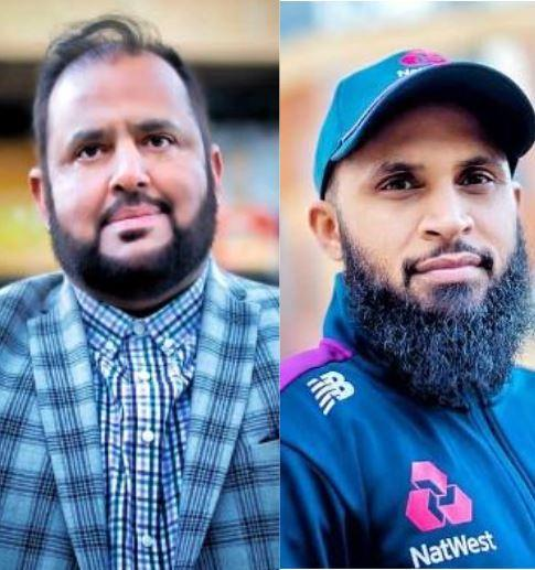 Cricketer Adil Rashid, right, and his uncle Javed Bashir, left, received honorary degrees from the University of Bradford
