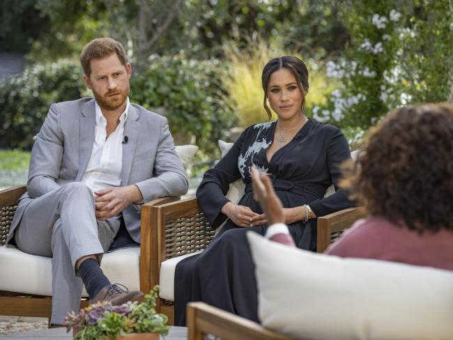 The Duke and Duchess of Sussex during their interview with Oprah Winfrey which was broadcast in the US on March 7 and is on ITV today.