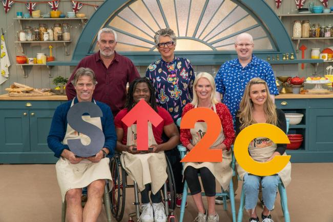 John Bishop, Ade Adeptian, Anneka Rice and Nadine Coyle with Paul, Prue and Matt in The Great Celebrity Bake Off