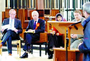 DEBATE: From left, Michael Law-Riding, Jack Straw,  Anjum Anwar and Paul English at the debate