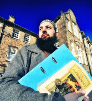 WRITE STUFF Nasrullah Anwar outside his old school in Great Harwood