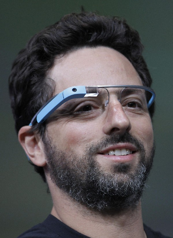 Google co-founder Sergey Brin demonstrates Google's new Glass, wearable internet glasses, at the Google I/O conference in San Francisco