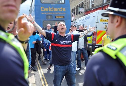The EDL protest in Keighley on Saturday which was contained by police