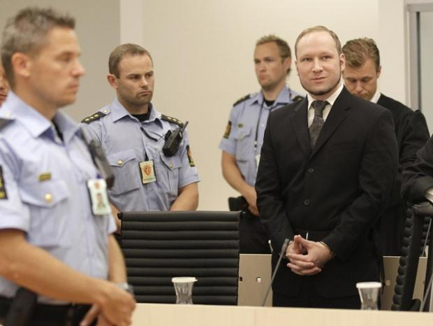 Anders Behring Breivik, arrives in the courtroom in Oslo today.