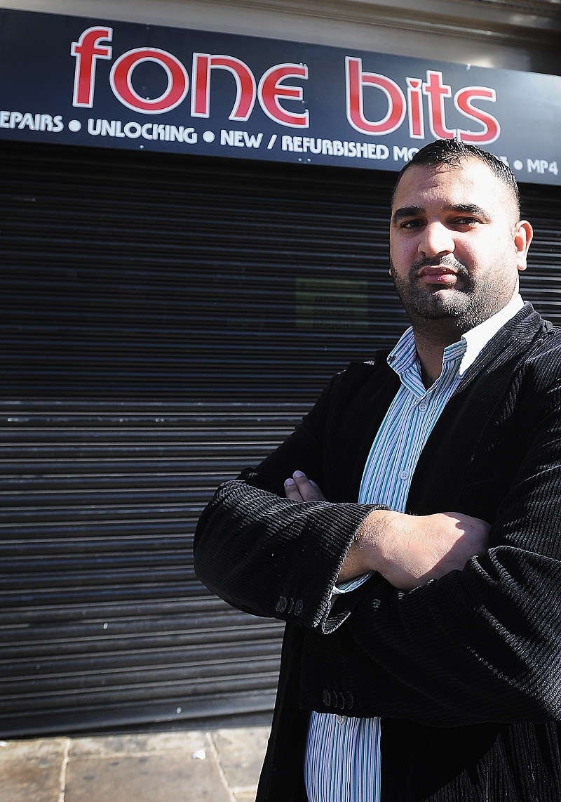 Zafran Liaqat, outside his brother's shop Fone Bits, James Street, after it was broken into and goods were taken