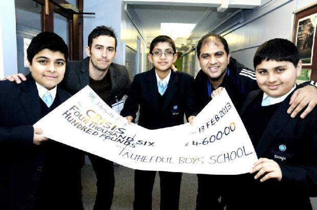 Mohammed Mohammed, Tom Marsh from CRISIS, Adam Patel, assistant principal Mo Matadar and Adam Ali