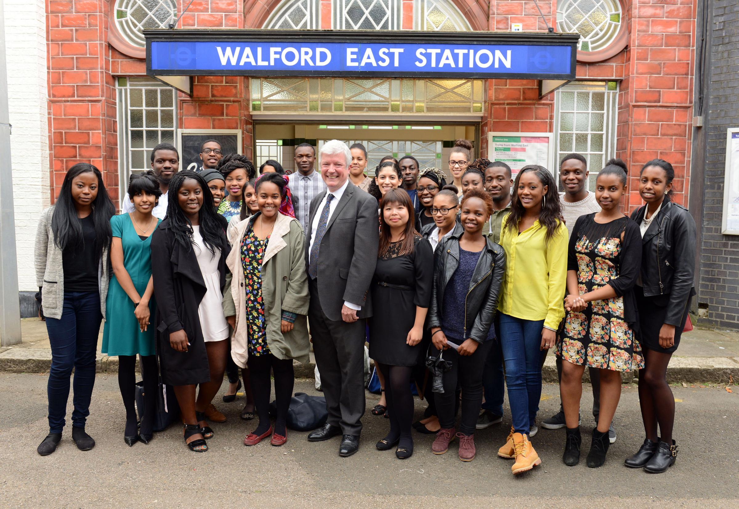 Tony Hall, BBC Director General, with members of Creative Access on the set of EastEnders, after the BBC announced a series of proposals to make