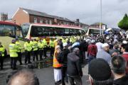 Far right group the North West Infidels and anti-fascists exchanged insults as they demonstrated against plans for a large mosque in Blackburn Road last year