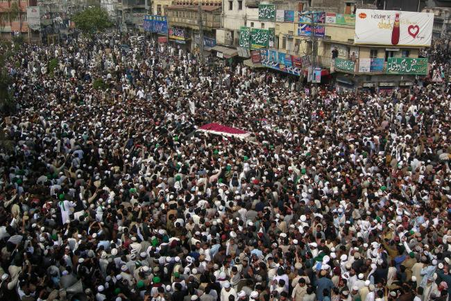 Thousands attend the funeral of Mumtaz Qadri in Pakistan earlier this week