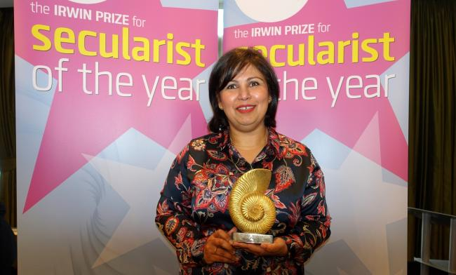 Campaigner Yasmin Rehman presented with Irwin Prize for Secularist of the Year 2017
