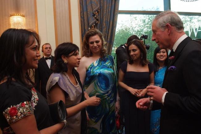 Salma (centre) in conversation with HRH Prince of Wales at the Asian Women of Achievement Awards in London