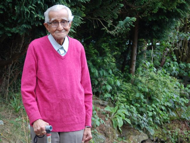 Madhusudan Dave pictured at his home this week