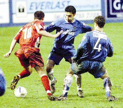 REAL CHARACTER: Amjad Iqbal in action for Farsley (Picture Telegragh and Argus Bradford)