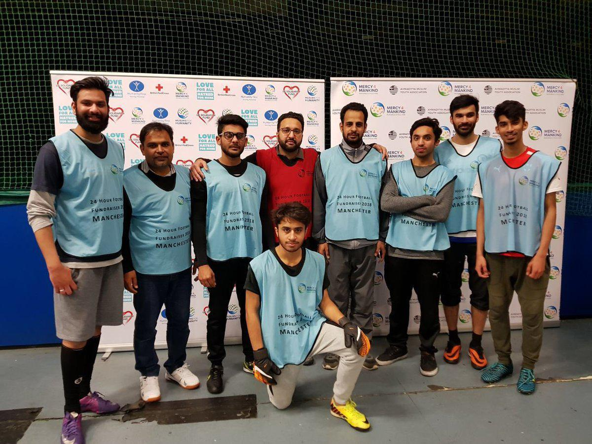 FUNDRAISER: Members of Ahmadiyya Muslim Youth Association took part in a 24/7 football match in aid of Manchester Arena attack victims