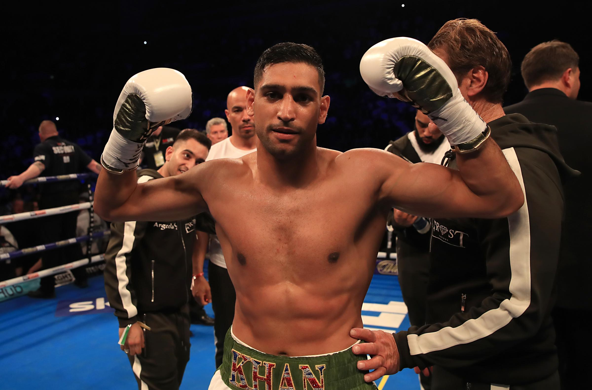 WINNING MENTALITY: Amir Khan celebrates beating Phil Lo Greco last time out