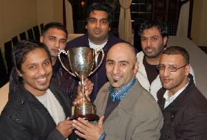 At the draw are Abdul Logde (Blackburn United); Yasser Farooq (Coppice United); Ashad Zaman(Paak United) Saeed Ahmed (Asia FC),  Abdul Rauf (Canaries) and  Kabir Patel (Moghuls FC). The cup was won by Asia FC last year who beat Blackburn United in the fin