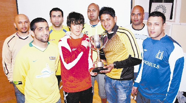 BATTLE FOR THE CUP: Pictured at the draw are (from left to right) Ansar Mohammed (Bank Top Rovers), Sajid Kalang (Canaries), Kailm Hafeji (Blackburn U