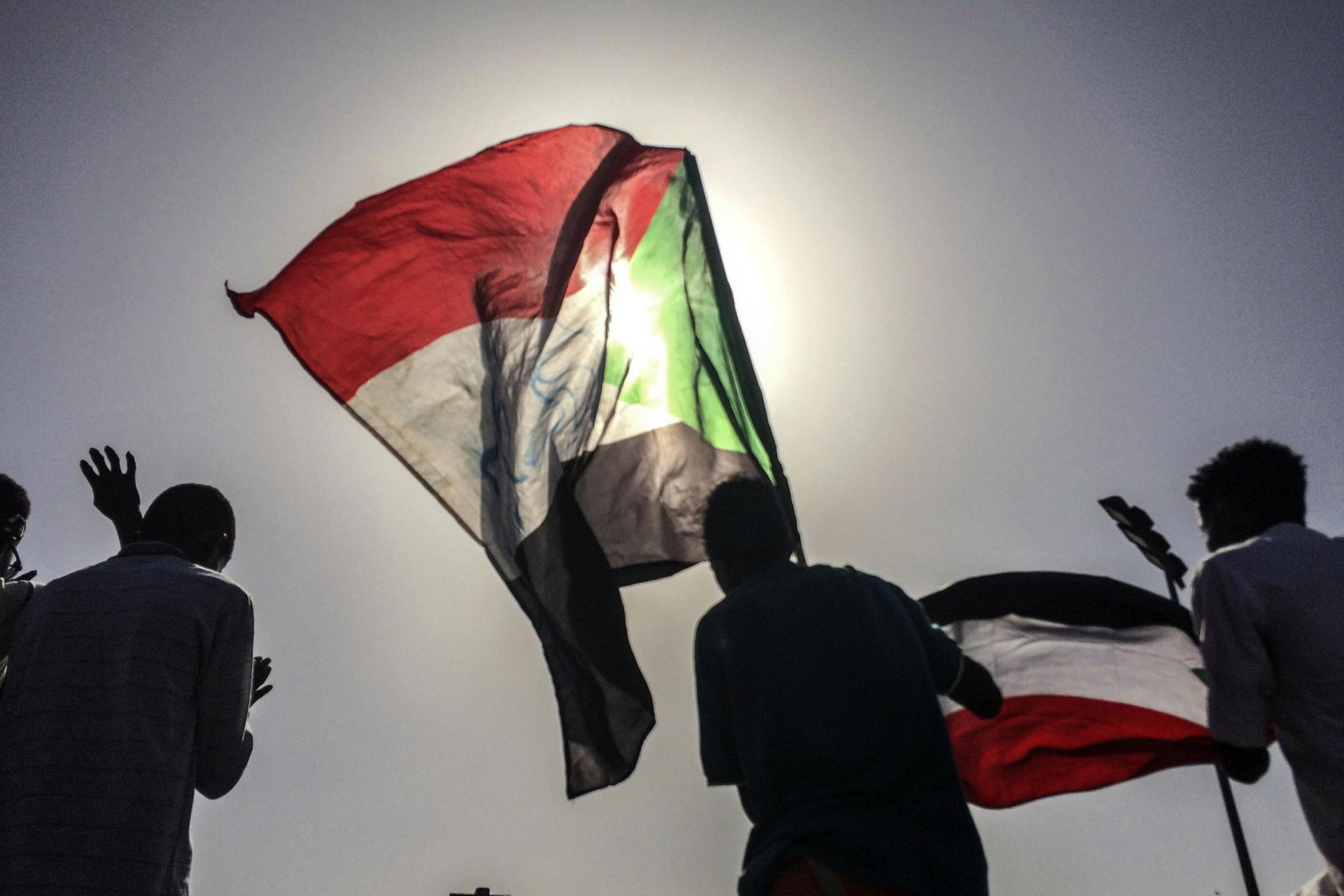 Sudanese demonstrators march with national flags