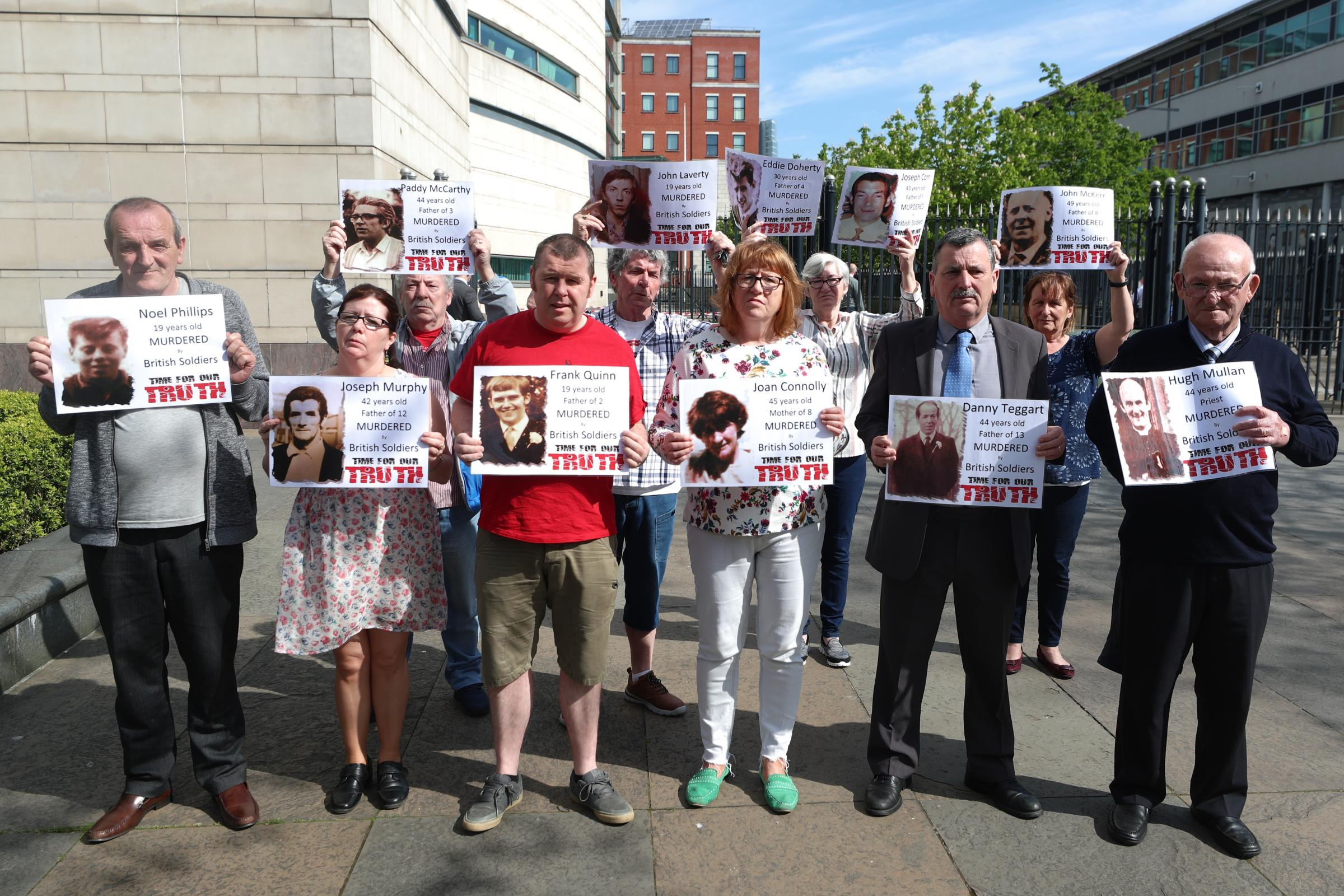 Families of Ballymurphy Massacre victims outside Ballymurphy Massacre