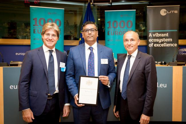 Khalid is pictured here as Star Tissue UK celebrated being chosen as one of the top 1,000 companies to 'inspire Europe'.